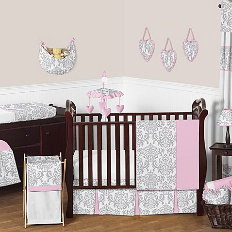 Sweet jojo designs elizabeth 11 piece crib bedding set in pink grey
