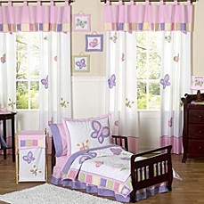 image of sweet jojo designs butterfly toddler bedding collection in pinkpurple