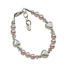 image of Cherished Moments Sweetheart Sterling Silver with Pink and White Pearls Bracelet