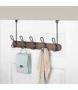 Perchero de madera Spectrum® Millbrook con 5 ganchos para puerta color café/gris