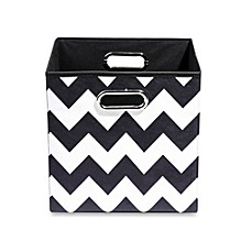 image of Modern Littles Bold Folding Storage Bin in Chevron Black