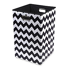 image of Modern Littles Bold Folding Laundry Bin in Chevron Black