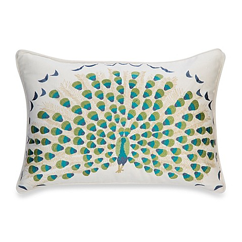 Bed Bath And Beyond Blue Throw Pillows : Anthology Bungalow Embroidered Oblong Throw Pillow in Teal/White - Bed Bath & Beyond