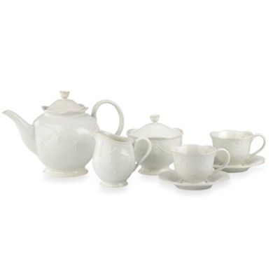 image of Lenox® French Perle™ 7-Piece Tea Set in White