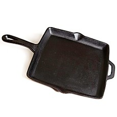 image of 11-Inch Pre-Seasoned Square Cast Iron Skillet in Black
