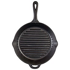 image of Camp Chef 12-Inch Pre-Seasoned Round Cast Iron Ribbed Skillet in Black