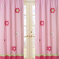 Sweet Jojo Designs Flower Window Panel Pair In Pink Green