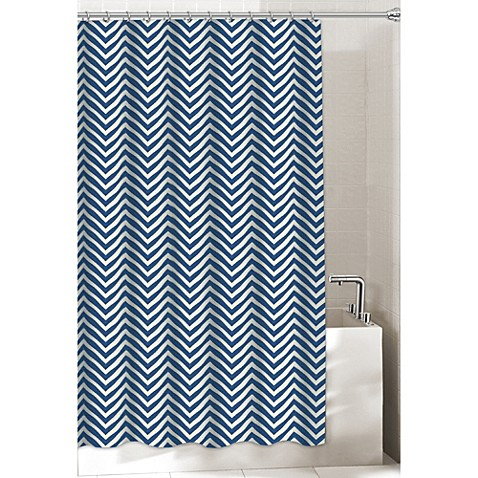 Chevron Shower Curtains chevron shower curtain in navy - bed bath & beyond