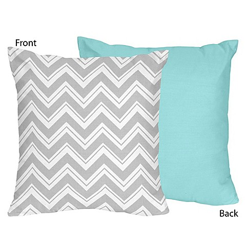 Buy Sweet Jojo Designs Zig Zag Chevron Throw Pillow in Grey/Turquoise from Bed Bath & Beyond