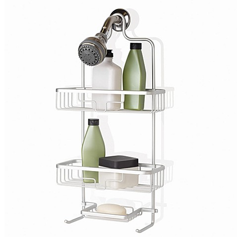 Org neverrust aluminum shower caddy in satin chrome for A bathroom item that starts with p