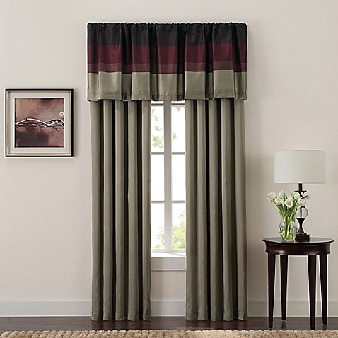 Hudson Window Curtain Panel Pair And Valance In Red Bed