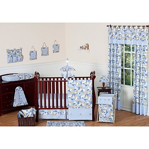 Sweet Jojo Blue Camo Crib Bedding