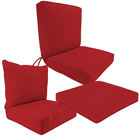 Outdoor Seat Cushion Collection In Sunbrella® Canvas Jockey Red   Bed Bath  U0026 Beyond