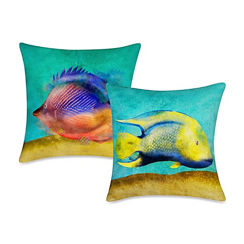 Square fish print outdoor throw pillow bed bath beyond for Fish throw pillows