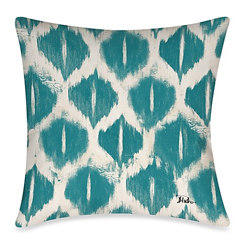 Bed Bath And Beyond Blue Throw Pillows : Colored IKats 3 Square Outdoor Throw Pillow in Blue - Bed Bath & Beyond