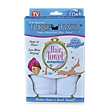 image of The Original Turbie Twist® Super-Absorbent Hair Towel in White (Set of 2)