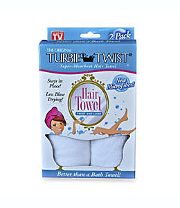 Toalla para cabello súper absorbente The Original Turbie Twist®, en blanco (Set de 2)