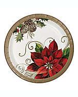 Platos para ensalada desechables Pretty Poinsettia, 12 piezas