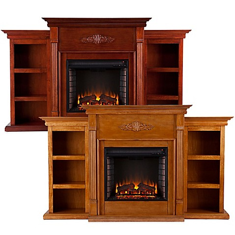 This beautiful and functional Tennyson Electric Fireplace with Bookcases features a glazed finish and a carved classic floral design across the top of the fireplace. Three bookcase shelves on both sides of the firebox provide space for your things. Free s