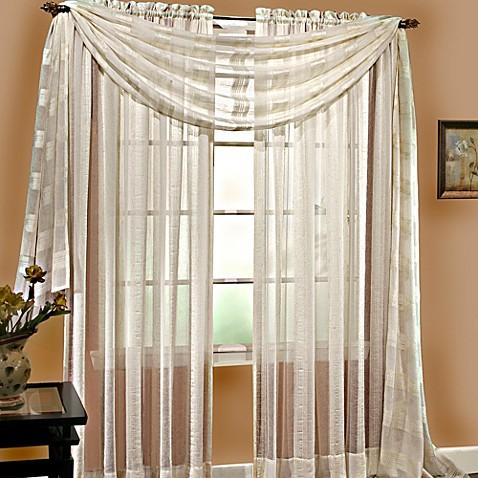 buy linen sheer 6 yard window scarf in ivory from bed bath