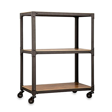 Wood And Metal 3 Tier Rolling Cart