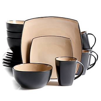 image of Gibson Home Amalfi 16-Piece Dinnerware Set in Taupe  sc 1 st  Bed Bath \u0026 Beyond & Dinnerware Sets: Stoneware Square Dinnerware and more - Bed Bath ...