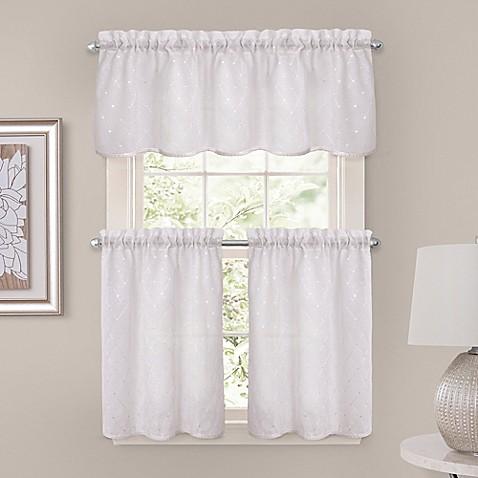 crystal brook window curtain tier pair in white bed bath beyond