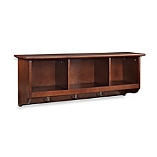 image of Crosley Brennan Entryway Storage Shelf Bookcase in Mahogany