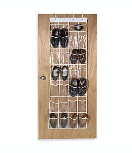 Zapatera para puerta de vinilo transparente con 24 compartimentos
