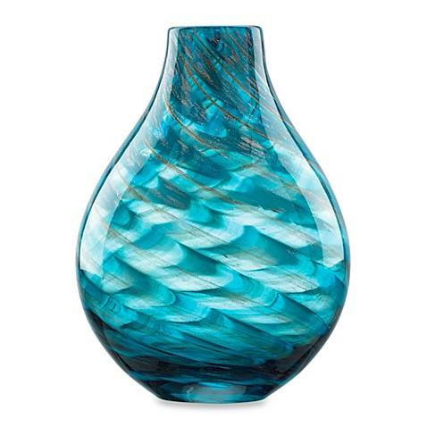 Lenox seaview 11 inch glass swirl bottle vase in blue for Jardin glass vases 7 in