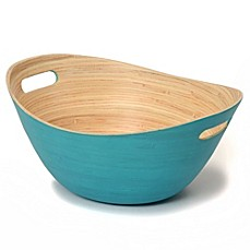 image of Wabash Valley Farms™ 6-Quart Stained Bamboo Serving Bowl in Teal