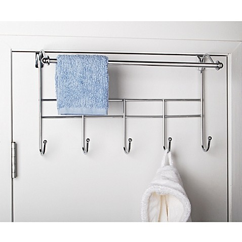 Over the door hook rack with towel bar bed bath beyond for A bathroom item that starts with p