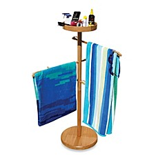 image of Deluxe Wood Towel Valet with 3 Towel Bars