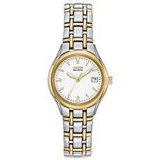 image of Citizen Ladies Eco-Drive Two-Tone Silhouette Watch with Goldtone Markers