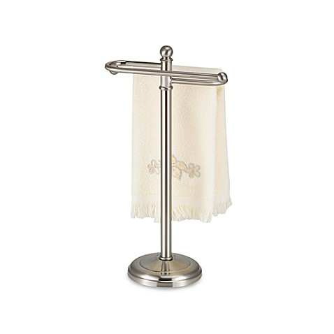 Hand Towel Tree with Curved Arms in Satin Nickel