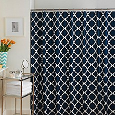 image of Jill Rosenwald Hampton Links Shower Curtain in Navy/White