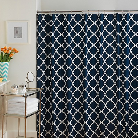 Jill Rosenwald Hampton Links Shower Curtain In Navy White Bed Bath Beyond