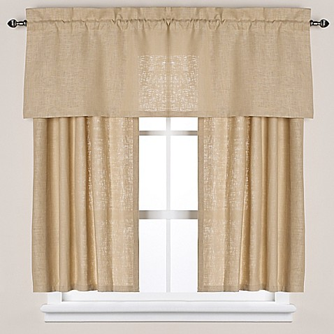 Soho linen bath window curtain panel and valance bed for Linen shades window treatments
