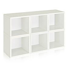 image of Way Basics Tool-Free Assembly zBoard paperboard Storage Cubes in White  (Set of  6 Cubes)