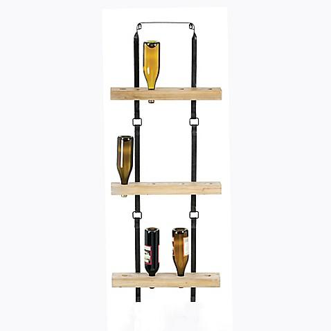 metal and wood wine rack bed bath beyond