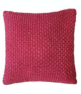 Cojín decorativo de algodón texturizado color rojo