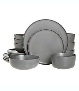 Vajilla de cerámica Our Table™ Landon color gris, Set de 16 piezas