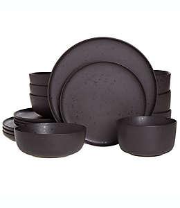 Vajilla de cerámica Our Table™ Landon color pimienta, Set de 16 piezas