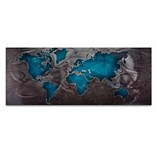 image of Land and Sea Modern Map Wall Art in Sea Blue