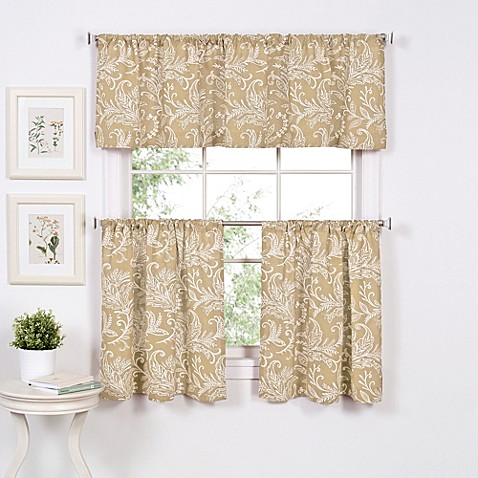 Buy Flora 36 Inch Window Curtain Tier Pair In Linen From Bed Bath Beyond