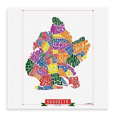 Brooklyn map framed wall art bed bath beyond for Art and craft store in brooklyn ny