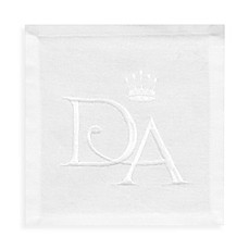 image of Downton Abbey Embroidered Crest Cocktail Napkins in Grey/White (Set of 4)