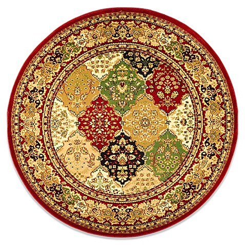 Safavieh Lyndhurst Diamond Patchwork  5-Foot 3-Inch Round Rug in Red
