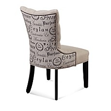 image of Bassett Mirror Company Fortnum Linen Tufted Nailhead Parsons Dining Chair in Script Print