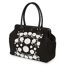 image of The Bumble Collection™ Embossed Flora Frame Diaper Bag in Black